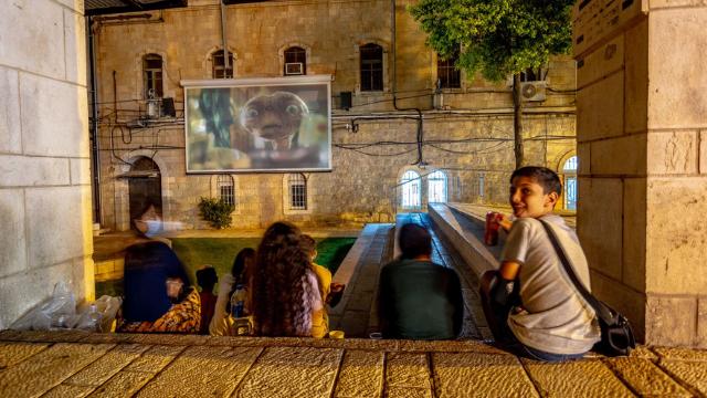 צופים בסרטים בכיכר הירח