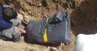 הגופה שנמצאה. צילום: דוברות המשטרה