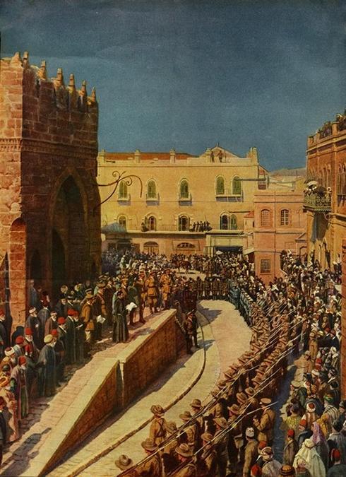 טקס ההצהרה על כיבוש ירושלים שתשוחזר. צילום: מתוך אוסף מוזיאון מגדל דוד