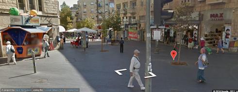 מדרחוב בן יהודה דרך עדשת המצלמה של גוגל. צילום: Google Street View