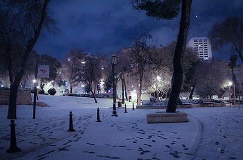 לילה מושלג בירושלים, 2013. צילום: רועי אלמן