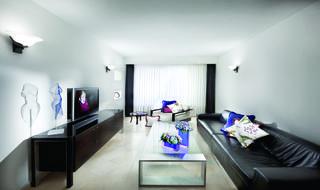 חדר מגורים בעיצוב אלגנטי ומוקפד, המשלב כתמי צבע בפריטי טקסטיל ובחפצי נוי. צילום: אלעד גונן