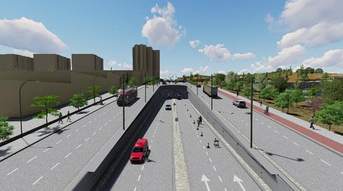 כך תיראה ההפרדה המפלסית ברחוב אשר וינר. הדמיה: תכנית אב לתחבורה