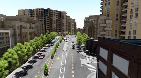 כך ייראה רחוב ירמיהו. הדמיה: תכנית אב לתחבורה ירושלים