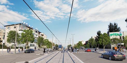 כך תיראה הרכבת הקלה בגבעת שאול. רחוב הרב צבי יהודה. הדמיה: תכנית אב לתחבורה